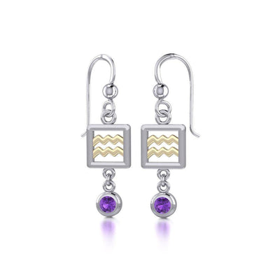 Aquarius Zodiac Sign Silver and Gold Earrings Jewelry with Amethyst MER1767