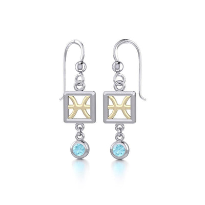 Pisces Zodiac Sign Silver and Gold Earrings Jewelry with Aquamarine MER1768