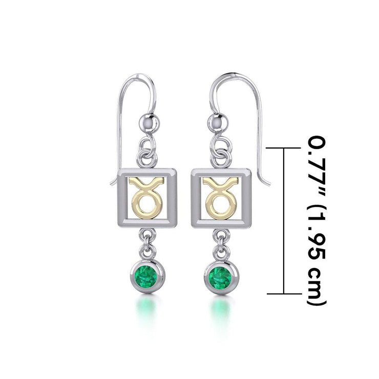Taurus Zodiac Sign Silver and Gold Earrings Jewelry with Emerald MER1770