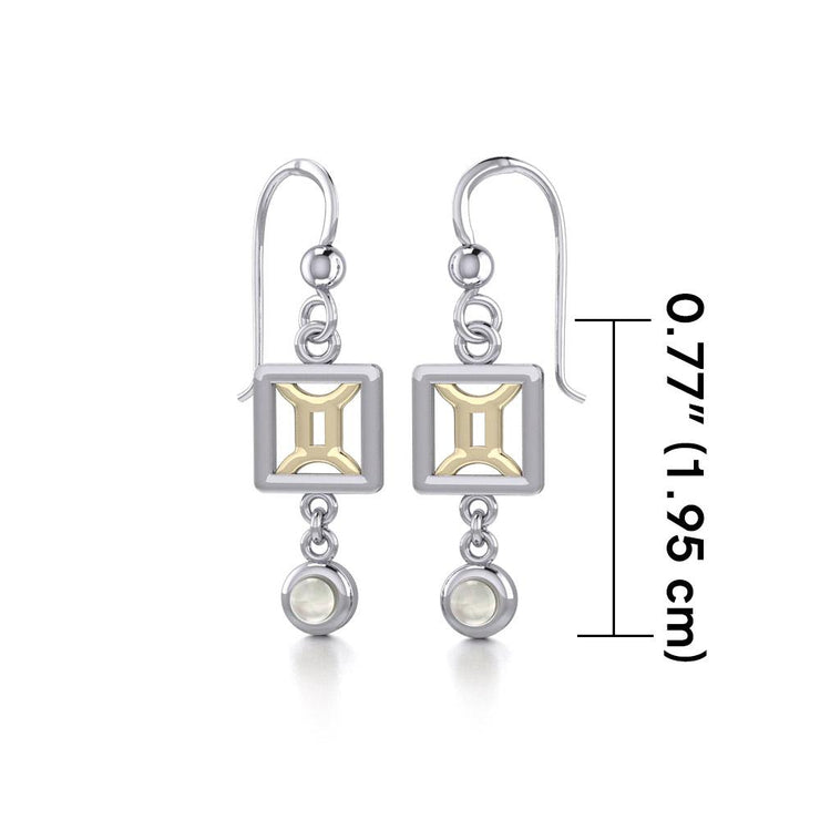Gemini Zodiac Sign Silver and Gold Earrings Jewelry with Mother of Pearl MER1771 - Peter Stone Wholesale