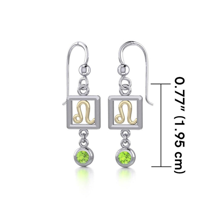 Leo Zodiac Sign Silver and Gold Earrings Jewelry with Peridot MER1773