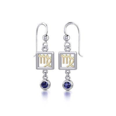 Virgo Zodiac Sign Silver and Gold Earrings Jewelry with Sapphire MER1774