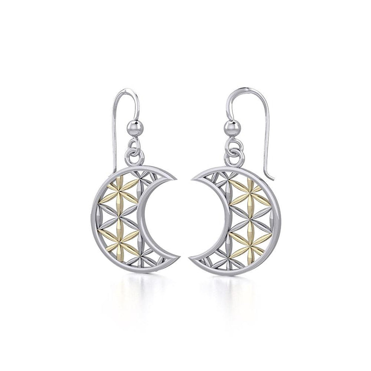The Flower of Life in Crescent Moon Silver and Gold Earrings MER1780