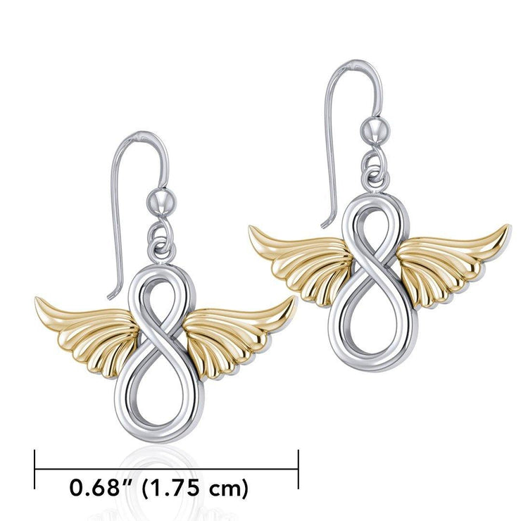 Angel Wings and Infinity Symbol Silver and Gold Earrings MER1781