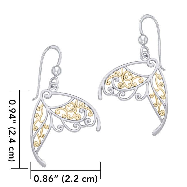 Butterfly Wing Silver and Gold Earrings MER1783 - Peter Stone Wholesale
