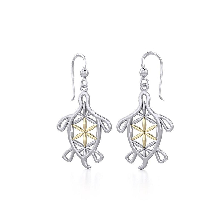 Turtle with Flower of Life Shell Silver and Gold Earrings MER1784 - Peter Stone Wholesale