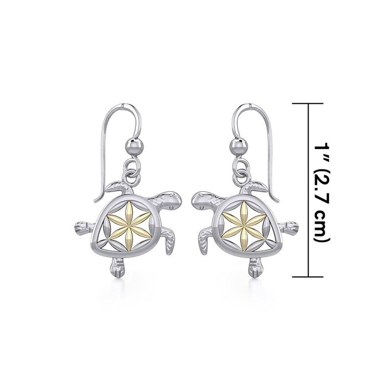 Swimming Turtle with Flower of Life Shell Silver and Gold Earrings MER1786 - Peter Stone Wholesale
