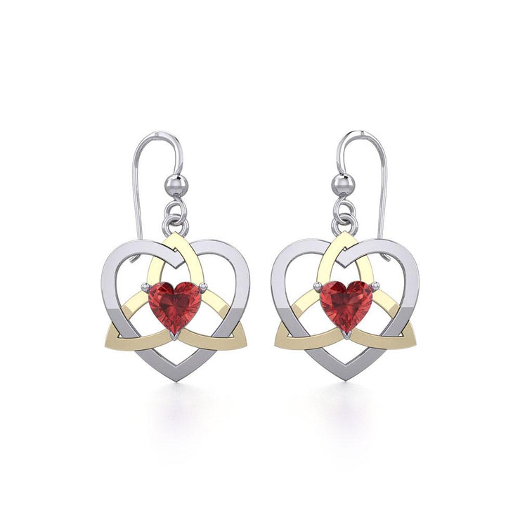 The Celtic Trinity Heart Silver and Gold Earrings with Gemstone MER1788 - Peter Stone Wholesale