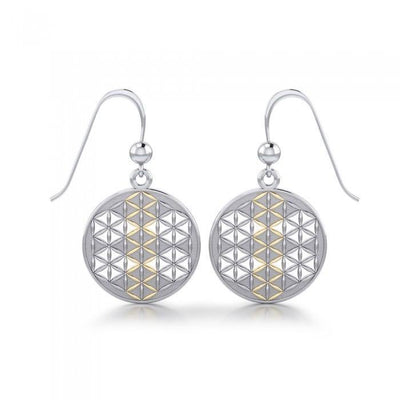 Flower of Life Mandala Silver and Gold Earrings