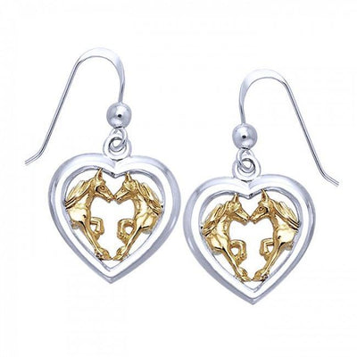 Friesian Horse Pair in Heart Silver & Gold Earrings MER536