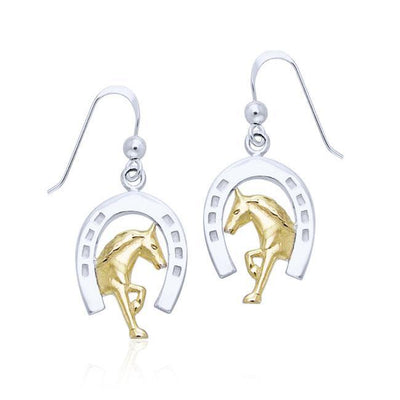 Declared strength and virtue of a Friesian Horse ~ Sterling Silver Horseshoe Hook Earrings Jewelry with 14k Gold Accent MER537 Earrings