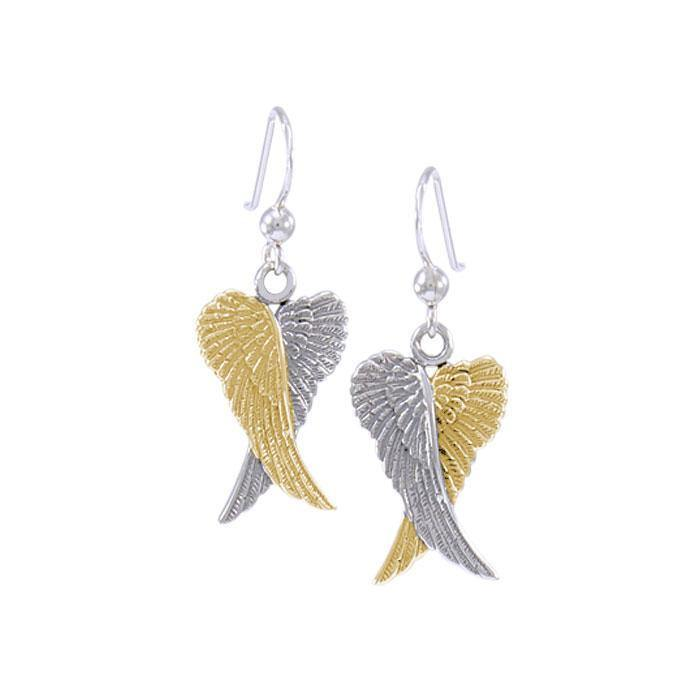Angel Wings Silver and Gold Earrings MER928