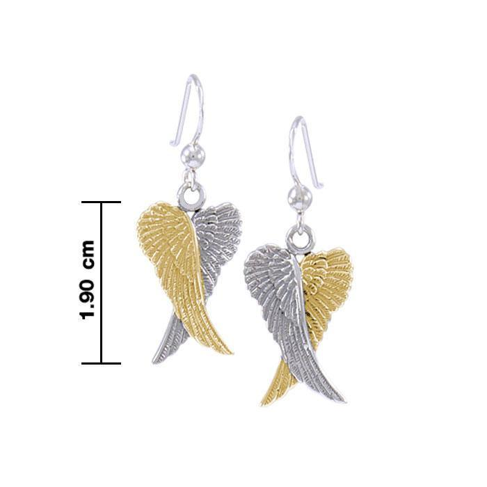 Angel Wings Silver and Gold Earrings MER928 - Peter Stone Wholesale