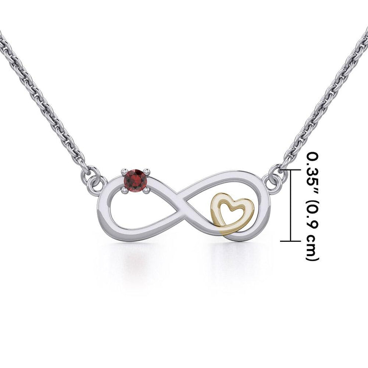 Infinity Heart Silver and Gold Necklace with Gemstone MNC485