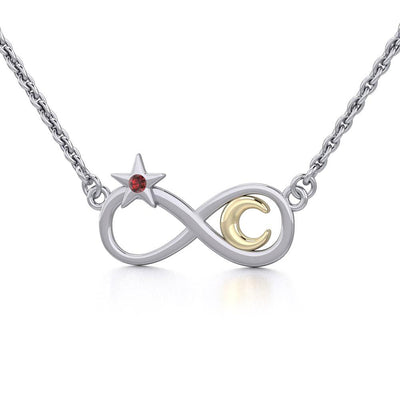 Infinity Moon and Star Silver and Gold Necklace with Gemstone MNC486 - Peter Stone Wholesale