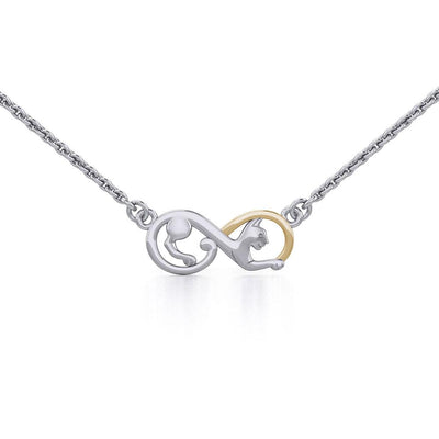 Infinity Cat Silver and Gold Necklace MNC489 - Peter Stone Wholesale