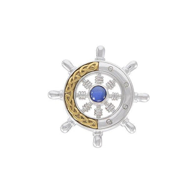 Continuing the sea journey with Celtic ship wheel ~ Sterling Silver pendant 14k gold Celtic knotwork accent and gemstone MPD069