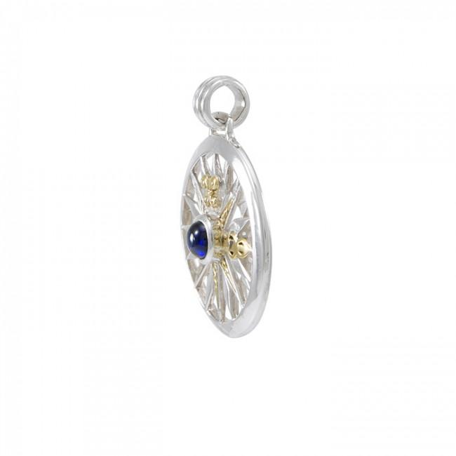 Guided by the Celtic Fleur de Lis Compass ~ Sterling Silver Pendant Jewelry with 14kt gold accent and gemstones MPD075