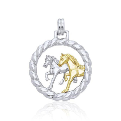 The strength in pair ~ Sterling Silver Friesian Horses in Rope Braid Pendant Jewelry with 14k Gold Accent MPD1079
