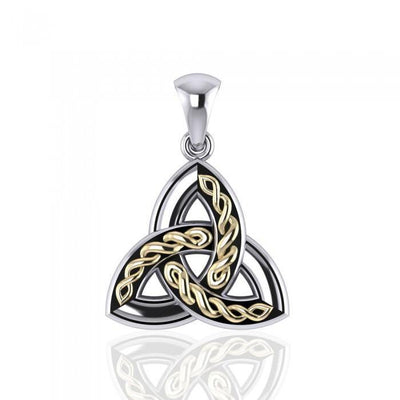 Braided Celtic Trinity Knot Silver & Gold Pendant MPD1812