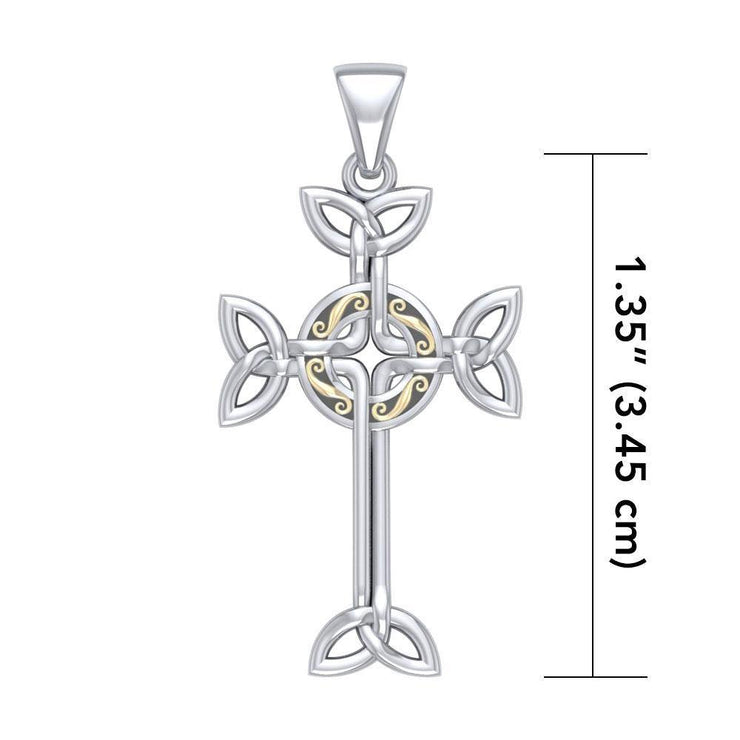 Celtic Cross Silver & Gold Pendant MPD1819 Pendant