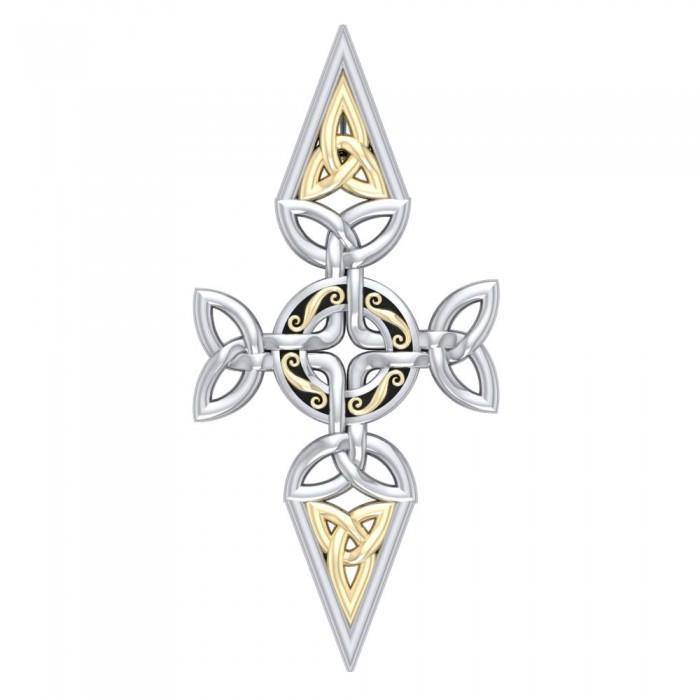 Celtic Trinity Cross Silver & Gold Pendant MPD1820