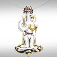 Dali-inspired fine Sterling Silver Jewelry Pendant in 18k Gold accent  MPD2654