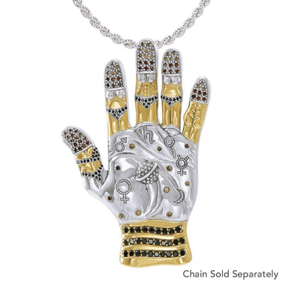 Art in the palm of your hand ~ Dali-inspired fine Sterling Silver Jewelry Pendant in 18k Gold accent MPD2656