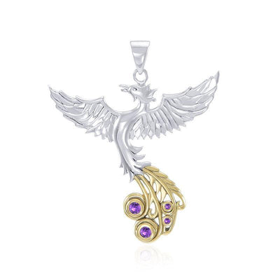 Soar as high as the Flying Phoenix ~ Sterling Silver Jewelry Pendant with 14k Gold and Crystal Accents MPD2912 Pendant