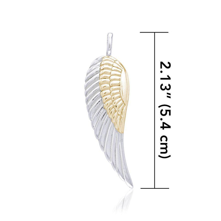 Angel Wing Silver and Gold Pendant MPD2932 - Peter Stone Wholesale