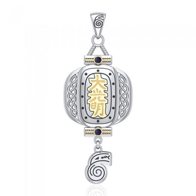 The Reiki Japanese Lantern and Dangling Dai Ko Myo Symbol Silver and Gold Pendant with Gemstone