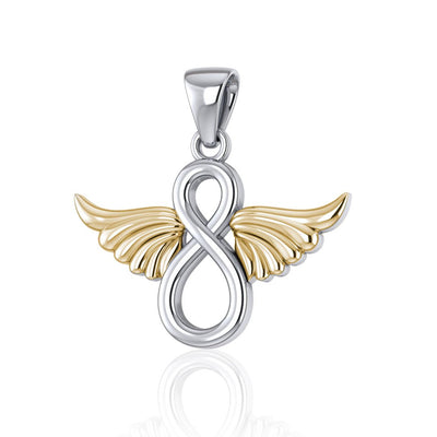 Infinity Angel Wing Silver and Gold Pendant MPD4950 - Peter Stone Wholesale