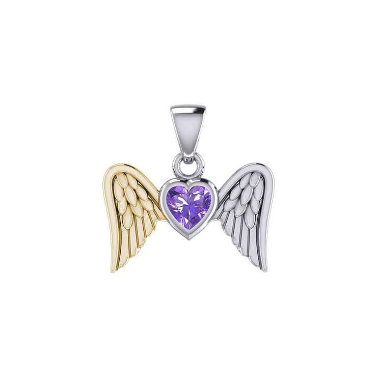 Gemstone Heart and Flying Angel Wings Silver and Gold Pendant MPD5228