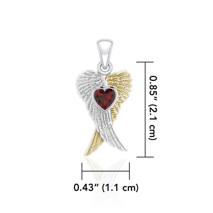 Heart Gemstone and Double Angel Wings Silver and 14K Gold Plate Pendant MPD5229 - Peter Stone Wholesale