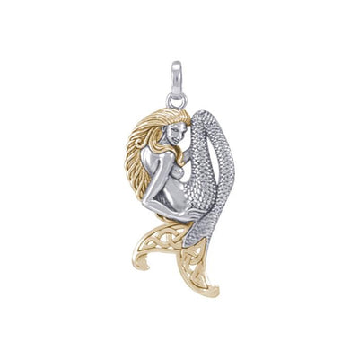 Celtic Mermaid Goddess Sterling Silver and Gold Pendant MPD5256
