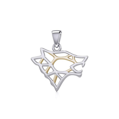 Geometric Wolf Silver and Gold Pendant MPD5270 - Peter Stone Wholesale