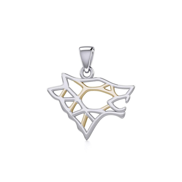 Geometric Wolf Silver and Gold Pendant MPD5270