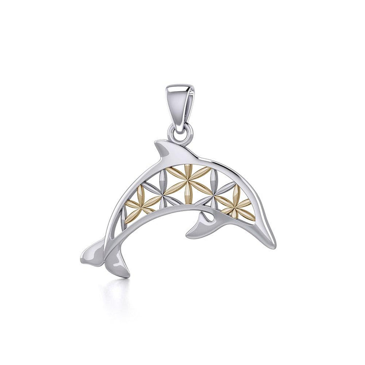 Swimming Dolphin with Flower of Life Silver and Gold Pendant MPD5272