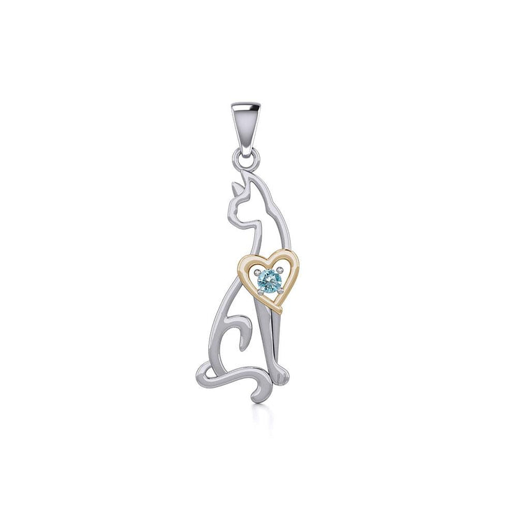 Lovely Heart Cat Silver and Gold Pendant with Gem MPD5273
