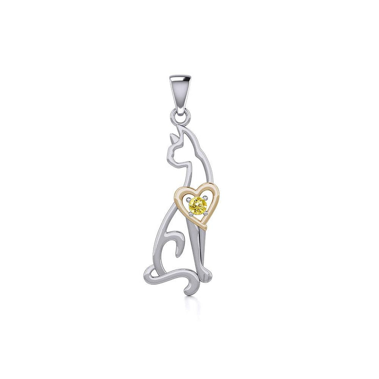 Lovely Heart Cat Silver and Gold Pendant with Gem MPD5273 - Peter Stone Wholesale