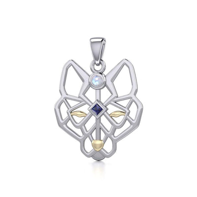 Geometric Wolf Silver and Gold Pendant with Gemstone MPD5276 - Peter Stone Wholesale