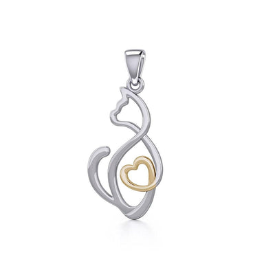 Running Cat with Golden Heart Silver Pendant MPD5280