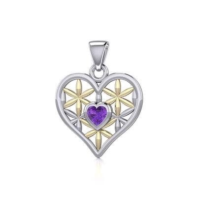 Silver and Gold Geometric Heart Flower of Life Pendant with Gemstone MPD5282