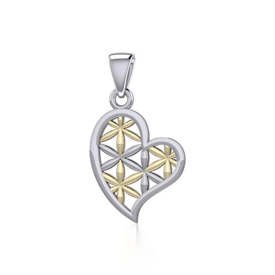 Silver and Gold Heart with Flower of Life Pendant MPD5284 - Peter Stone Wholesale