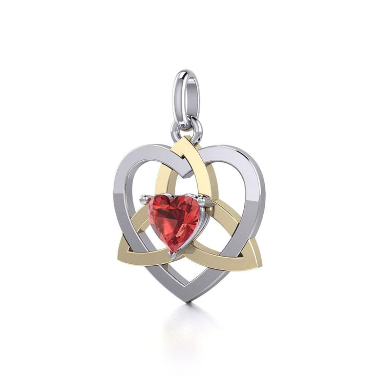 The Celtic Trinity Heart Silver and Gold Pendant with Gemstone MPD5287