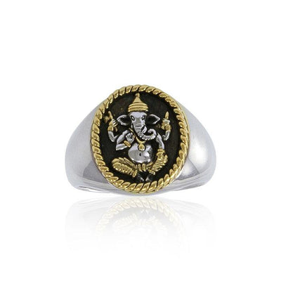 Ganesha Silver and Gold Ring MRI1002