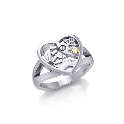 Heart Steampunk Sterling Silver and Gold Ring MRI1258 Ring