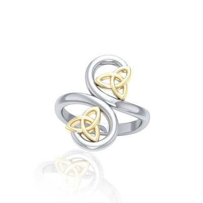 Celtic Trinity Knot Spiral Silver and Gold Ring MRI1786 Ring