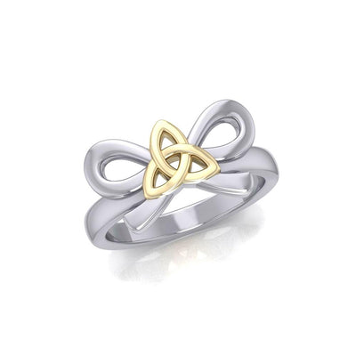 Celtic Trinity Knot on Ribbin Silver and Gold Ring MRI1787