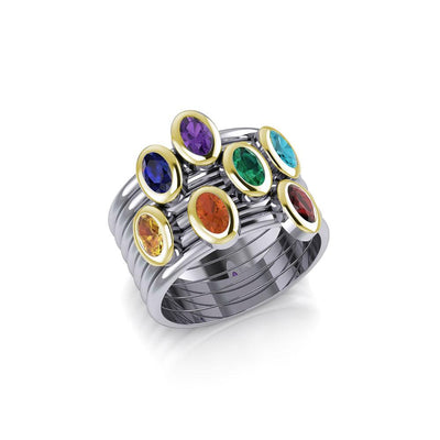 Oval Chakra Gemstone on Silver and Gold Stack Ring MRI1856